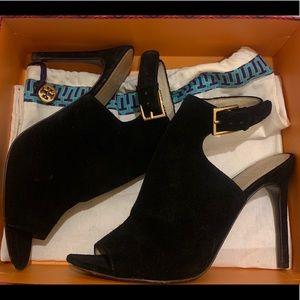 Tory Burch black suede heels